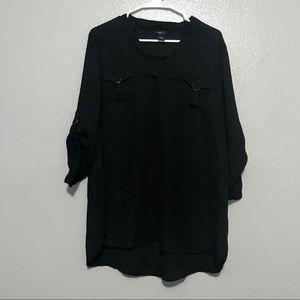Rue 21 Black Long Sleeve V-neck Blouse